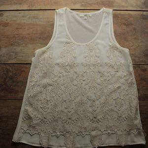 Cream and Gold Lace Overlay Tank Top
